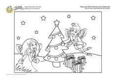 #Ausmalbild: Shaya und Habù schmücken den Zauberwald. Viele weitere, feenemonale Ausmalbilder findet ihr auf www.shaya.de #coloring #printable #kids #christmas #ausmalbild