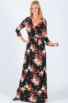 Mackenna Black Floral Wrap Maxi Dress - The Style Bar Boutique  - 1