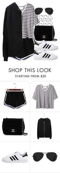 """""""Style #11473"""" by vany-alvarado ❤ liked on Polyvore featuring Alexander Yamaguchi, Chanel, BLK DNM, adidas Originals, Ray-Ban and ASOS"""