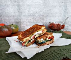 The ultimate grilled vegetable sandwich with tomato jam, kale pesto and crumbled goat cheese.