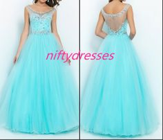 Elegant Crystal Beaded Blue Tulle Prom Gown Prom Dresses Floor Length Long Party Dress Evening Dress