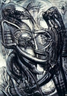 Biomechanical Landscape 005 - Surrealist H R Giger Art Wallpaper Picture Hr Giger Alien, Hr Giger Art, Arte Alien, Alien Art, Drawing Scenery, Surreal Artwork, Landscape Drawings, Science Fiction Art, Science Art