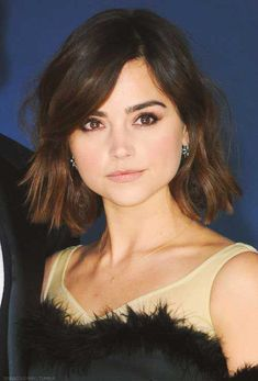 Jenna Coleman hairstyles for a wide round face - Bob Hairstyle 2015 Hairstyles, Short Bob Hairstyles, Trendy Hairstyles, Bob Haircuts, Celebrity Hairstyles, Jenna Coleman Haircut, Jenna Coleman Hair Short, Hair Day, New Hair
