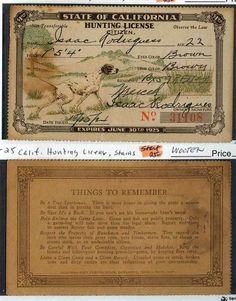 Old hunting license and duck stamps vintage outdoor gear for Calif fishing license