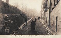 """La rue des Saules """"effet de brume"""" (et quelques """"fantômes), en février 1904  (Paris 18e)"""