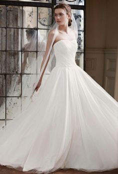 David's Bridal- strapless ruched bodice tulle ball gown