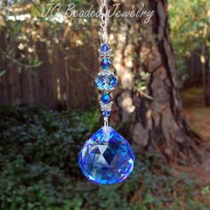 Blue Butterfly Crystal Suncatcher With Swarovski Crystals