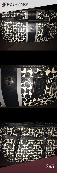 Used Coach little C's purse black & white Excellent used condition purse with blue lining inside. Any questions please ask thanks & Happy Poshing :) Coach Bags Totes