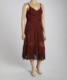Another great find on #zulily! Burgundy Paisley Peasant Midi Dress - Plus by Sol Clothing #zulilyfinds