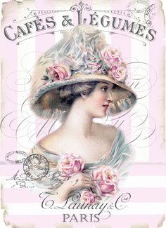 Vintage woman cafe ad pink stripes Digital collage P1022 FREE