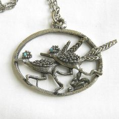 Southwest Faux Turquoise Roadrunner Duo Pendant by MyVintageJewels