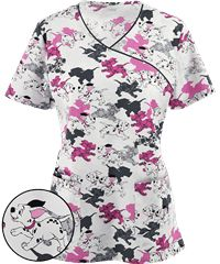 Cherokee Tooniforms Disney Puppy Run Print Scrub Top
