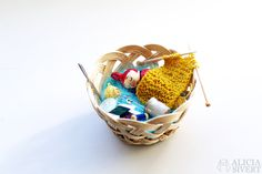 Miniature Little My in Moominmamma's sewing basket. Model by Alicia Sivertsson, 2016.