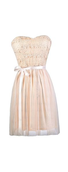 Lily Boutique Standing Out Dimensional Crochet Tulle Dress in Blush, $36 Blush Pink Strapless Dress, Pink Bridesmaid Dress, Pale Pink Party Dress, Light Pink A-Line Dress, Cute Pink Dress www.lilyboutique.com