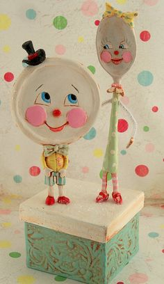 'Dish and Spoon In Love' paper clay sculpture.
