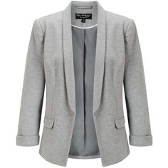 Miss Selfridge Grey Ponte Notch Blazer ($60) ❤ liked on Polyvore featuring outerwear, jackets, blazers, grey, gray blazer, ponte jacket, ponte knit jacket, grey jacket and ponte knit blazer