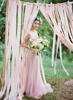 Ribbon photo backdrop, yogurt pink // Romantic Rose Quartz Styled Shoot With a Ribbon Backdrop