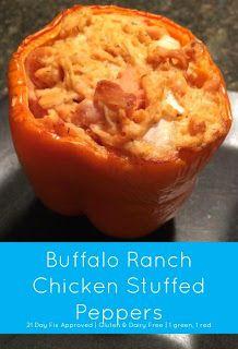 Buffalo Ranch Chicken Stuffed Peppers (21 Day Fix Dinner Idea)