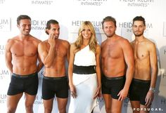 Pin for Later: Can't-Miss Celebrity Pics!  Heidi Klum was surrounded by shirtless men at the launch of her underwear line, Heidi Klum Intimates, during a stop in Sydney on Monday.