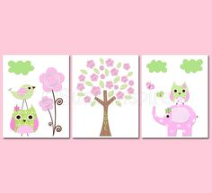 Pink and green Nursery Art Print Set, Kids Room Decor, Children Wall Art - Elephant, owl, love bird, flowers, tree. $39.95, via Etsy.