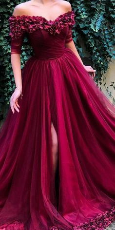 Off Shoulder Half Sleeves A Line Tulle Long Prom Dresses - Abschlussball Kleider - Abendkleid Trendy Dresses, Fashion Dresses, Formal Dresses, Dresses Dresses, Burgundy Prom Dresses, A Line Prom Dresses, Prom Dresses Tumblr, Long Sleeve Quinceanera Dresses, Sports Dresses