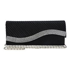 48041b167be0 Womens Satin Pleated Clutch Bag Wedding Bridal Prom Evening Handbag with  Rhinestones  cool Wedding Bag