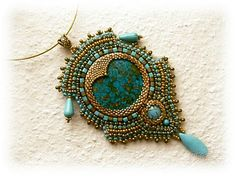 Beaded Cabochon Pendant Necklace by Dulcey Heller
