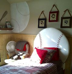 Upholstered baseball headboard