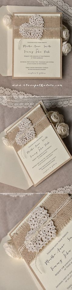 Ecru & Eco Brown Wedding Rustic Invitation Design - Burlap, Twine & Heart included ! #romantic #weddingideas #countrywedding