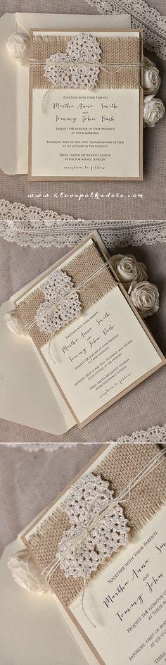 Ecru & Eco Brown Wedding Rustic Invitation Design - Burlap, Twine & Heart included ! #romantic #weddingideas #countrywedding