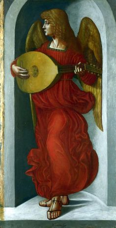 Angel probably by Ambrogio de Predis. Panels from the S. Francesco Altarpiece, Milan The National Gallery, London. - PInterest
