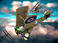"""Too Close for Comfort"" by Robert McSpaddenLubbock, TX // Oil on smoothly gessoed linen. Fictional aerial battle of World War One. Sopwith Pup is being overtaken by a German Fokker Tri-plane. // Imagekind.com -- Buy stunning, museum-quality fine art prints, framed prints, and canvas prints directly from independent working artists and photographers."