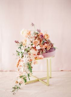 Beautiful elegant spring wedding bouquet with blush tones of pink, orange, purple and white in cascading wedding bouquet Purple Wedding, Spring Wedding, Floral Wedding, Wedding Bouquets, Wedding Flowers, Arch Wedding, Gold Wedding, Wedding Ideas, Beautiful Bouquet Of Flowers