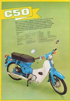 honda-c50 Vintage Honda Motorcycles, Small Motorcycles, 50cc Moped, Moto Scooter, Honda Cub, Motorcycle Posters, Mini Bike, Classic Bikes, Sport Bikes