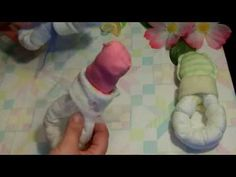 How to make a Pacifier out of diapers for a baby shower - YouTube