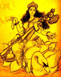 Devi Saraswati, Indian goddess of learning and arts, Saraswati Mata, Saraswati Goddess, Durga, Indian Goddess, Goddess Art, Saraswati Painting, Tantra, Art Sketches, Art Drawings