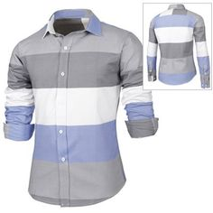 Trendy Distinct Color Block Stripes Print Turn-down Collar Slimming Long Sleeves Men's Shirt-13.97 and Free Shipping| GearBest.com