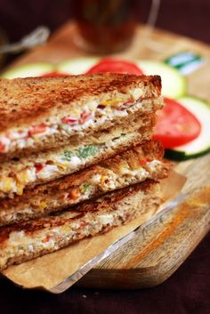 Cream cheese sandwich recipe with step by step photos. Let's learn how to make cream cheese sandwich, quick to make filling and very delicious sandwich today. Easy sandwich recipes are always… Vegetable Sandwich Recipes, Vegetarian Sandwich Recipes, Best Vegetable Recipes, Cheese Sandwich Recipes, Sandwich Fillings, Indian Sandwich Recipes, Simple Sandwich Recipes, Vegetarian Lunch, Sandwich Bar