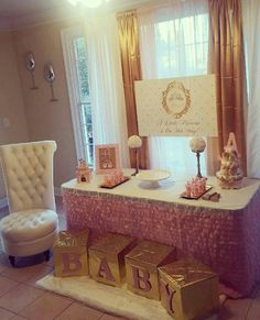 Princess Pink and Gold Baby Shower Banner by Little Dimple Designs