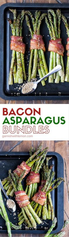 Need an easy side dish for a crowd? These Bacon Asparagus Bundles with a hint of sesame flavoring can be prepared ahead of time and baked when guests arrive!  #bacon #asparagus #easyrecipe