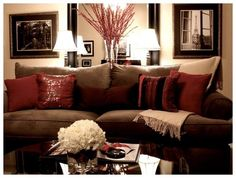 red and gold living room decor red gold and brown living room brown and gold living room ideas on dining room red and gold living room decorating ideas Living Room Decor Brown Couch, Burgundy Living Room, Living Room Red, Living Room Colors, Living Room Designs, Brown And Gold Living Room, Living Room Ideas Red And Cream, Decor With Brown Couch, Burgundy Couch