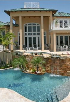 Luxurious Pool with waterfall... scary if you had small children, but still amazing.