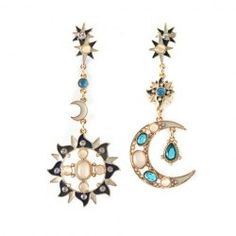 $5.40 Pair of Exquisite Diamante Faux Opal Embellished Moon / Sun Pendant Unsymmetrical Earrings For Women