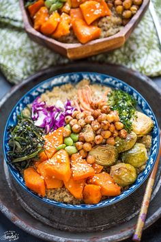 Roasted Vegetable Buddha Bowls make the perfect healthy, vegetarian meal!