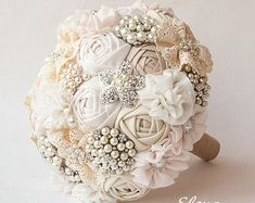 SALE Brooch Bouquet Ivory Fabric Bouquet Unique by feltdaisy