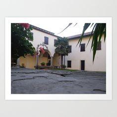 Homedecor, Wallart, Garden, Italy, Geranium, Plants, Palm Tree, Renaissance Cloister, Architecture, Wishing-Well, Sunset Light, Summer, Old Monastery