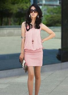 Charming Pink Round Collar Woman Above Knee Dress