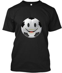 Soccer Ball Smiling Emoji Face Futbol Black T-Shirt Front