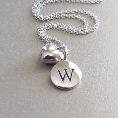 Silver Initial & Mini Heart Charm Necklace