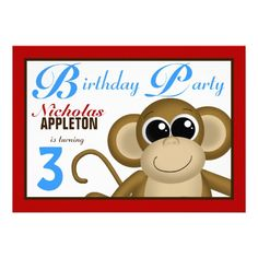Cute Monkey Red & Blue Birthday Party Invitations.  $1.95  (Other colors available)